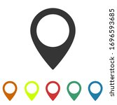 set pin map marker pointer icon ... | Shutterstock .eps vector #1696593685