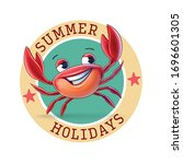 crab badge logo for summer   Shutterstock .eps vector #1696601305