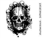 black vector skulls on white...   Shutterstock .eps vector #1696618165