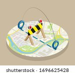 isometric lockdown route circle ... | Shutterstock .eps vector #1696625428