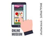 mobile phone with art gallery...   Shutterstock .eps vector #1696679548