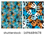abstract hand drawn geometric... | Shutterstock .eps vector #1696684678