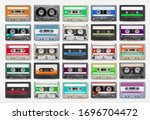 25 audio cassettes isolated on...