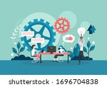 office people colleagues... | Shutterstock .eps vector #1696704838