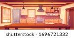 rustic kitchen empty interior... | Shutterstock .eps vector #1696721332