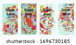 square pixel mosaic distorted... | Shutterstock .eps vector #1696730185