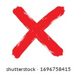 grunge letter x.red cross sign. | Shutterstock .eps vector #1696758415