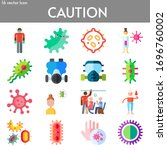 caution flat icon set on theme...   Shutterstock .eps vector #1696760002