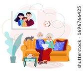 elderly grandparents calling...   Shutterstock .eps vector #1696766425