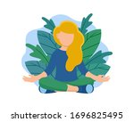 young woman sitting in yoga...   Shutterstock .eps vector #1696825495