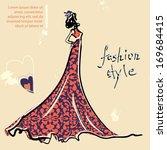 model in a fashion ornate dress | Shutterstock .eps vector #169684415