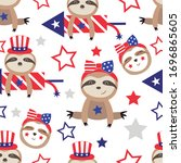 patriotic sloth bears seamless...   Shutterstock .eps vector #1696865605
