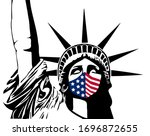 statue of liberty with mask in...   Shutterstock .eps vector #1696872655