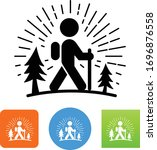 hiker walking through woods icon | Shutterstock .eps vector #1696876558