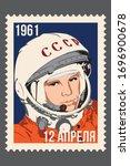 april 08  2020  astronaut yuri... | Shutterstock .eps vector #1696900678