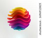 3d colored striped ball. art ... | Shutterstock .eps vector #1696912825