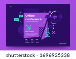 invitation banner to the online ... | Shutterstock .eps vector #1696925338