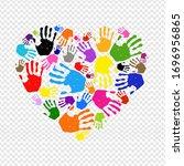 hand print heart poster... | Shutterstock . vector #1696956865