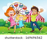 illustration of a happy family... | Shutterstock .eps vector #169696562