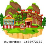 scene with roller coaster and... | Shutterstock .eps vector #1696972192