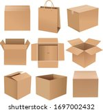 shipping box big set isolated... | Shutterstock .eps vector #1697002432