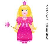 little cute princess in a pink... | Shutterstock . vector #169701272