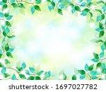 vector frame of green leaves... | Shutterstock .eps vector #1697027782
