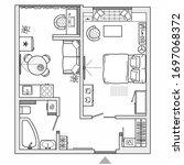 architectural plan of studio... | Shutterstock .eps vector #1697068372