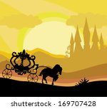 horse carriage and a medieval... | Shutterstock .eps vector #169707428