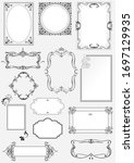 set of ornate b w frames and... | Shutterstock . vector #1697129935