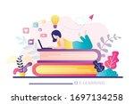 e learning banner. online...   Shutterstock .eps vector #1697134258