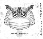hand drawing bird owl wearing... | Shutterstock .eps vector #1697152762