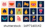 cute spring collection of cute... | Shutterstock .eps vector #1697160142