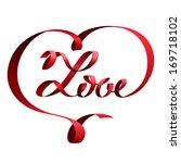 red ribbon in shape of heart... | Shutterstock .eps vector #169718102
