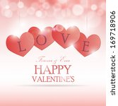 romantic card with hearts on... | Shutterstock .eps vector #169718906