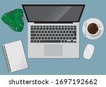 modern workspace vector set... | Shutterstock .eps vector #1697192662