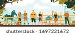 zoo workers background with... | Shutterstock .eps vector #1697221672