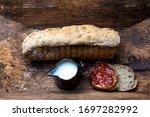 Fresh Homemade Bread  Jam  Milk ...