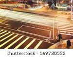 Taipei busy city street at night, Taiwan. - stock photo