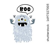 cute funny monster with...   Shutterstock .eps vector #1697327005