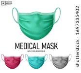 realistic medical mask with 3... | Shutterstock .eps vector #1697335402