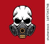 skull wearing a gas mask vector   Shutterstock .eps vector #1697343748