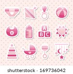 pink baby icons | Shutterstock .eps vector #169736042