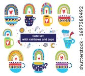 cute set with magic rainbows ... | Shutterstock .eps vector #1697389492