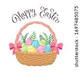 easter eggs in basket isolated...   Shutterstock .eps vector #1697485075