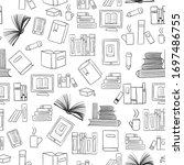 seamless pattern handdrawn with ... | Shutterstock . vector #1697486755