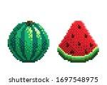 pixel art watermelon icon....   Shutterstock .eps vector #1697548975