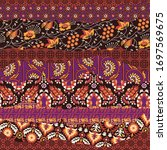 indian silk floral print fabric ... | Shutterstock .eps vector #1697569675