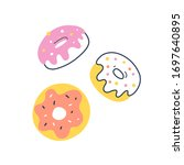 donut doodles  hand drawn icons ... | Shutterstock .eps vector #1697640895