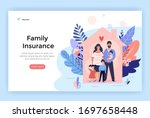 happy family at home  insurance ... | Shutterstock .eps vector #1697658448